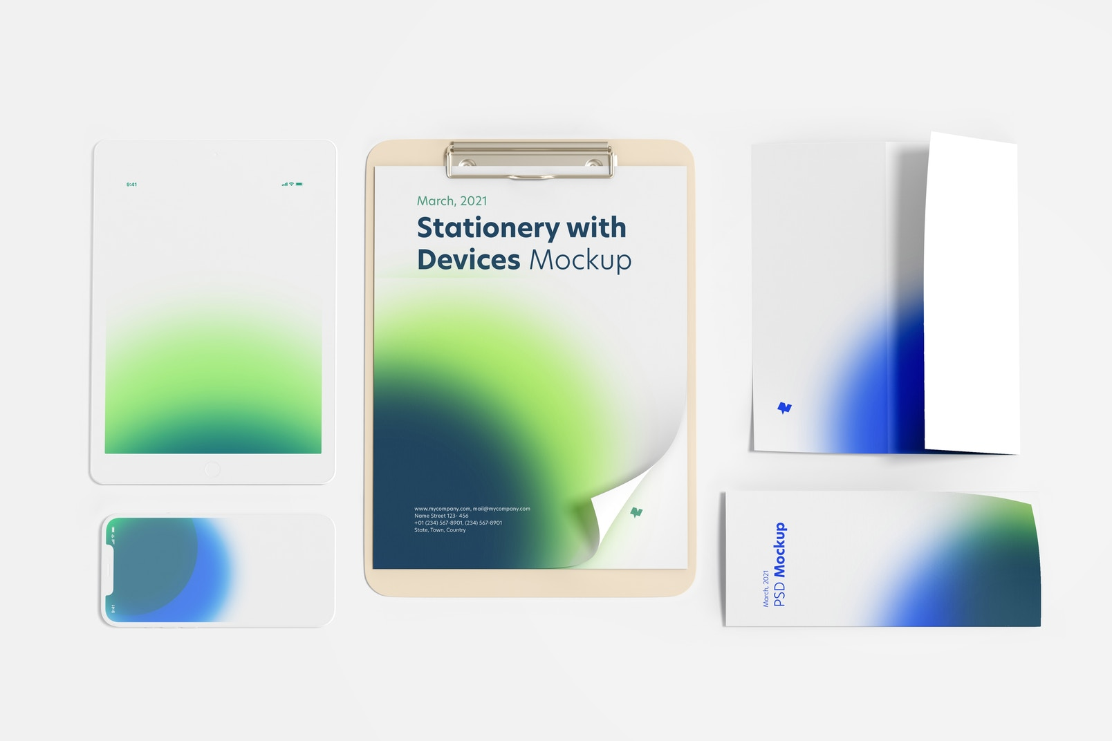 Stationery with Devices Mockup, Top View