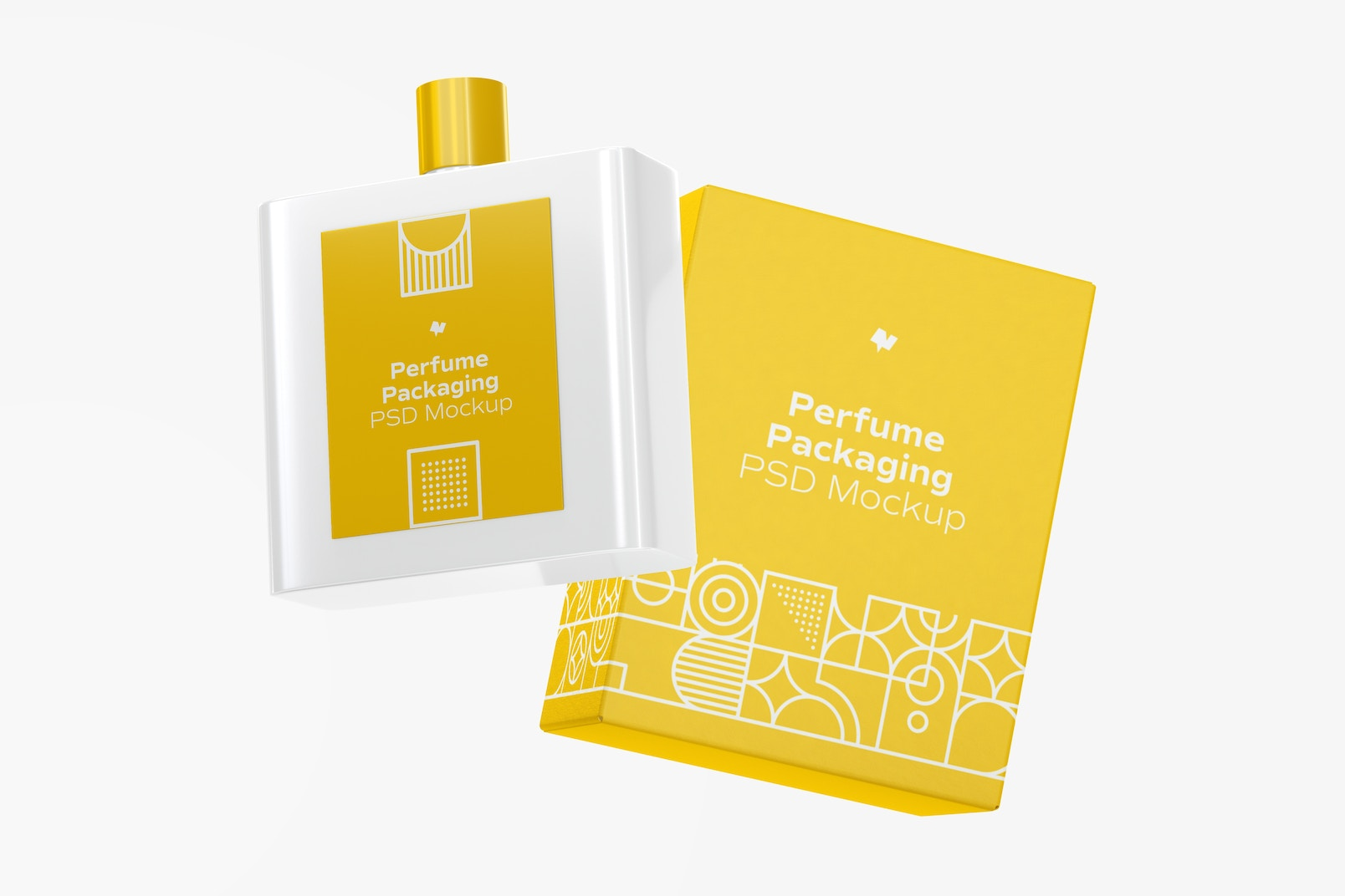 Perfume Packaging with Bottle Mockup, Floating