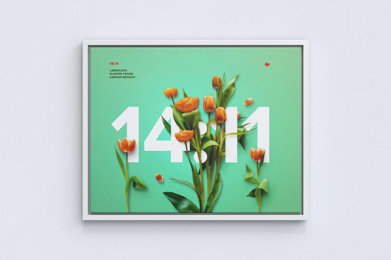 14:11 Landscape Canvas Mockup in Floater Frame, Front View