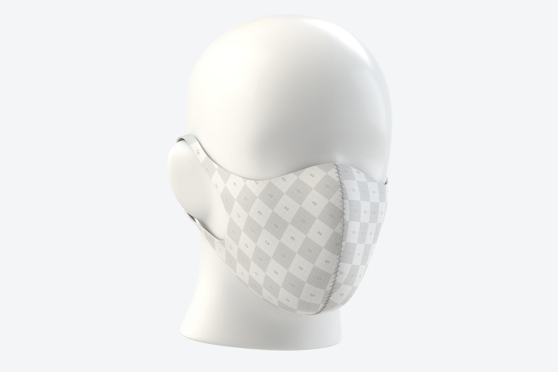 Neoprene Guard Face Mask Mockup, Front Half-Side View