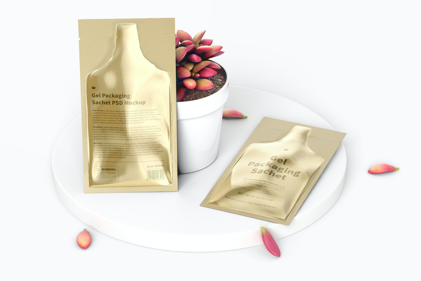 Gel Packaging Sachets Mockup, Leaned and Dropped