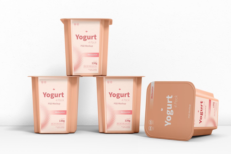 Yogurt 4 Pack Mockup, Stacked