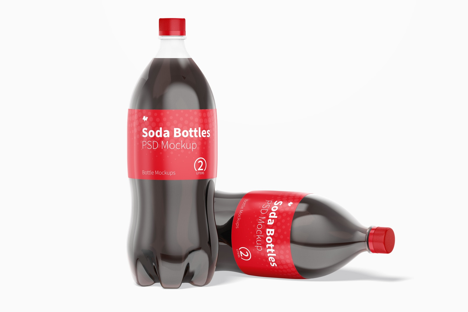 2L Coke Bottles Mockup, Standing and Dropped