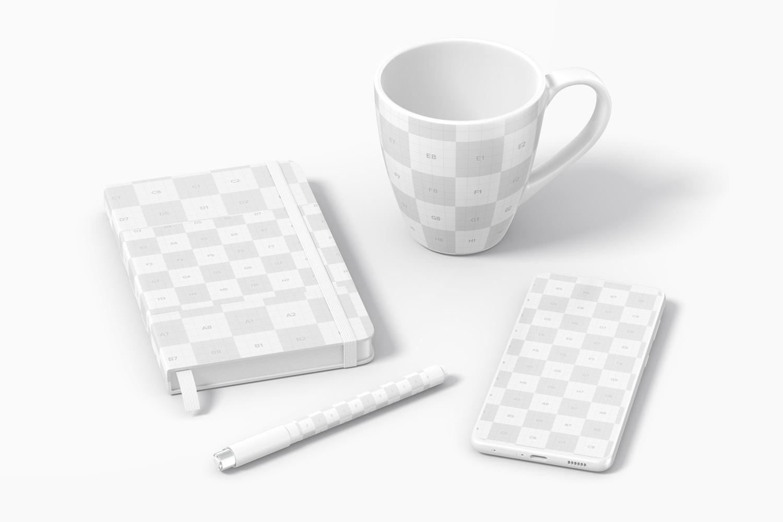 Notebook with Mug Scene Mockup