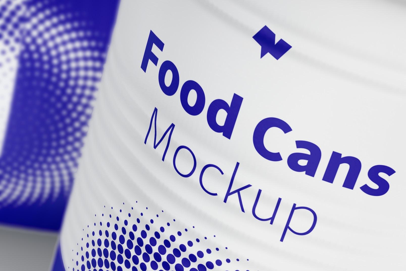 580g Food Cans Mockup, Close-Up