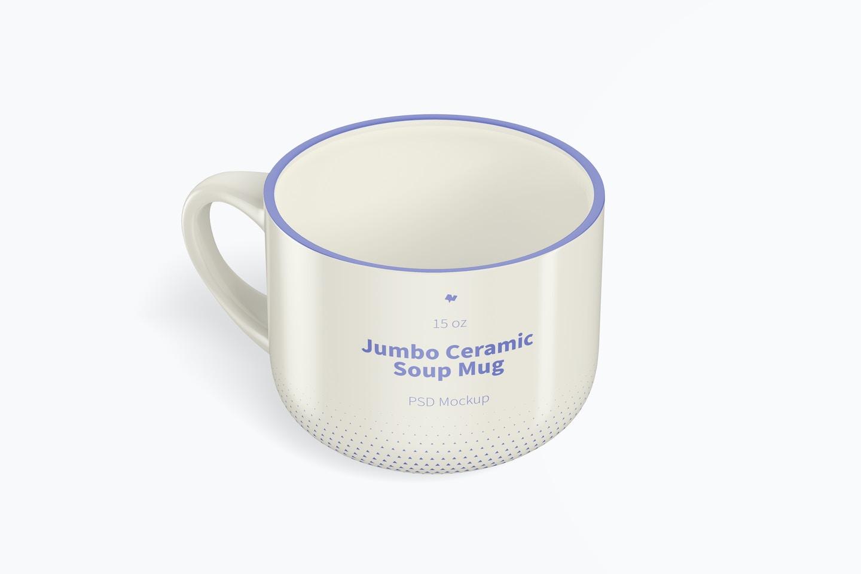 15 oz Jumbo Ceramic Soup Mug Mockup, Isometric Left View