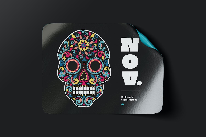 Rectangular Sticker Mockup, Top View 02