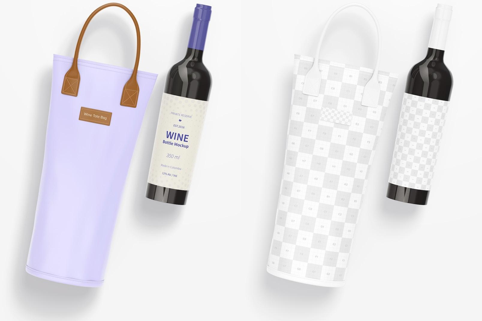 Wine Tote Bag Mockup, Top View