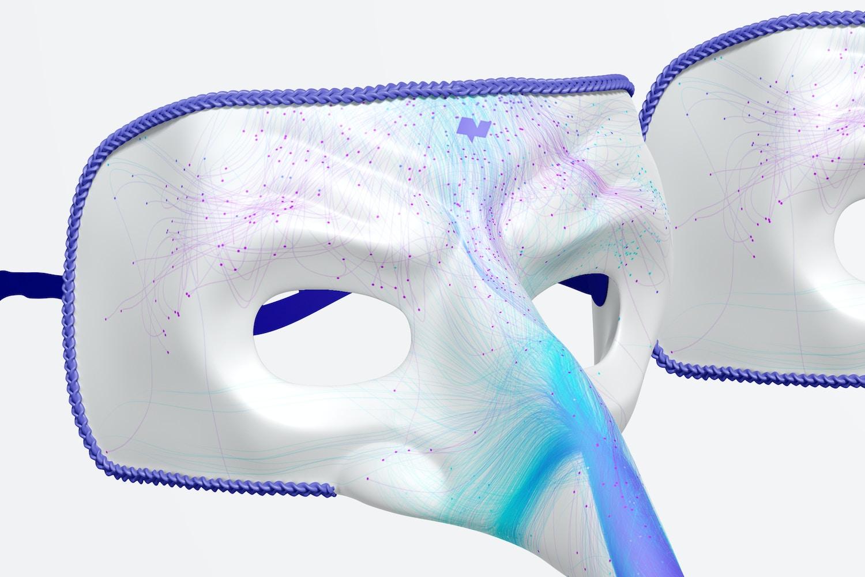 Long Nose Venetian Masks Mockup, Left View