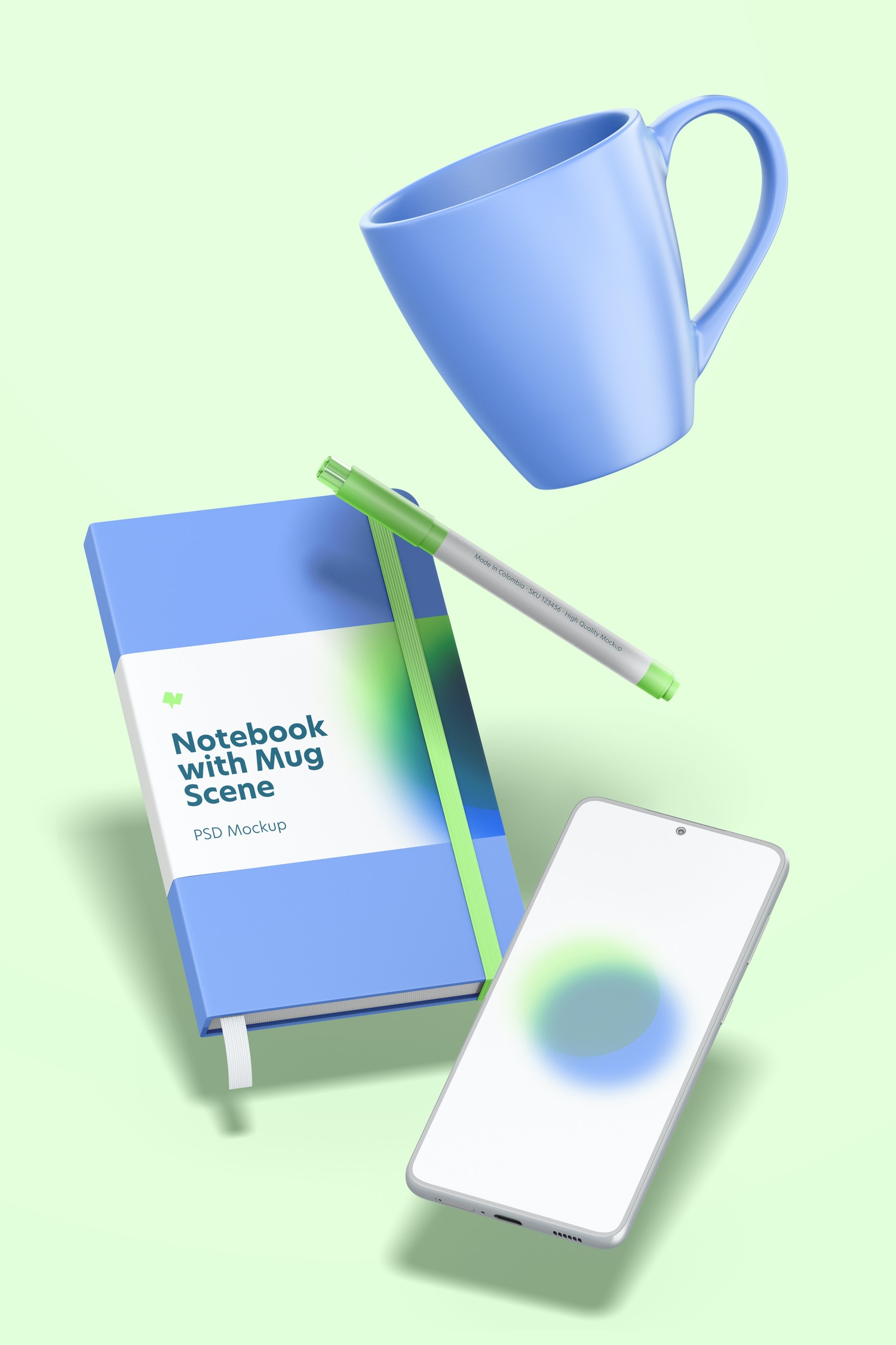 Notebook with Mug Scene Mockup, Falling