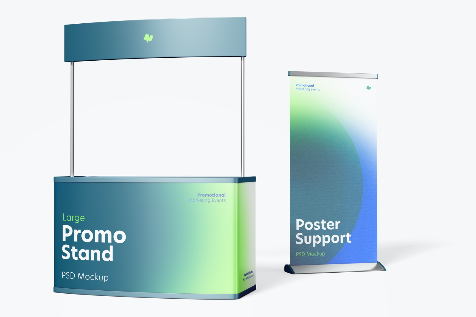 Large Promo Stand with Roll-Up Banner Mockup