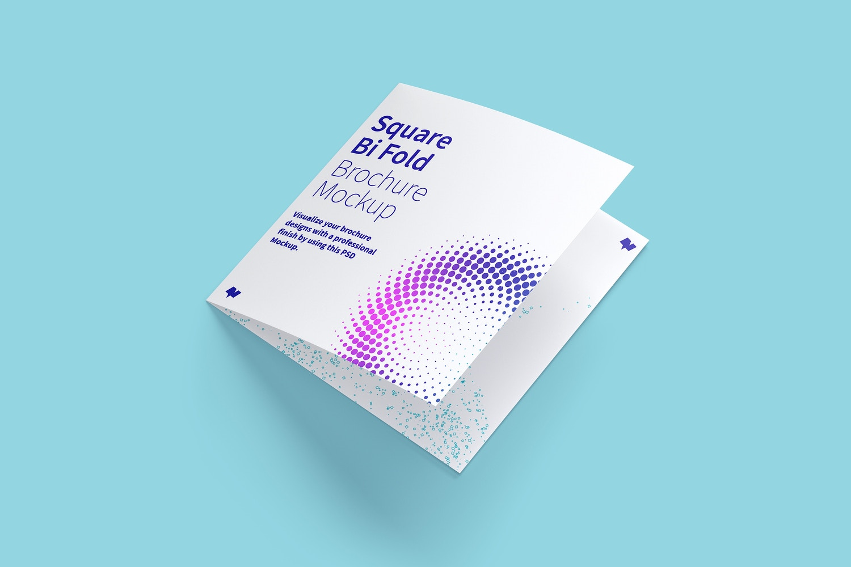 Square Bi Fold Brochure Mockup 01 (5) by Original Mockups on Original Mockups