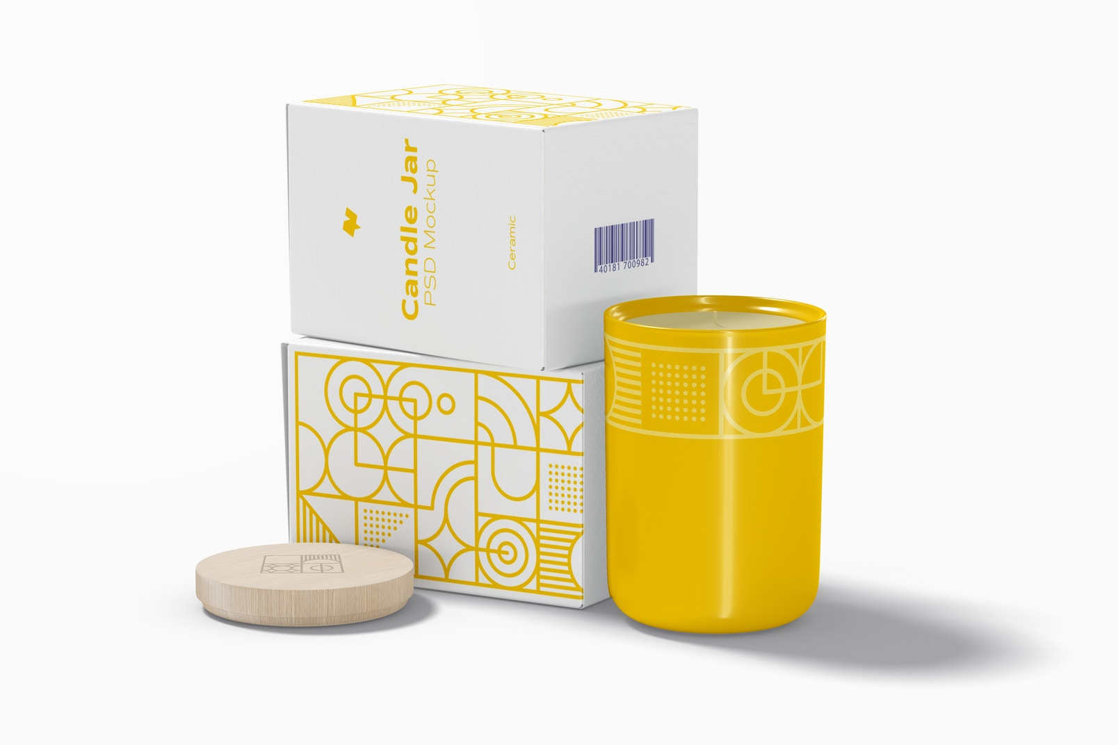 Ceramic Candle Jar with Boxes Mockup, Side View