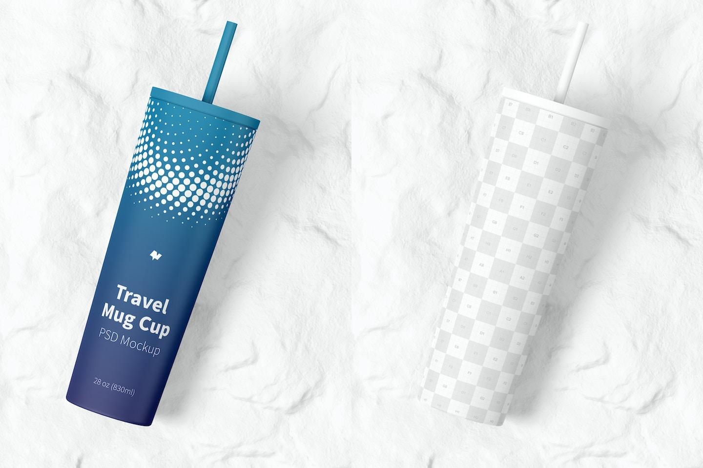 Travel Mug Cup Mockup, Top View
