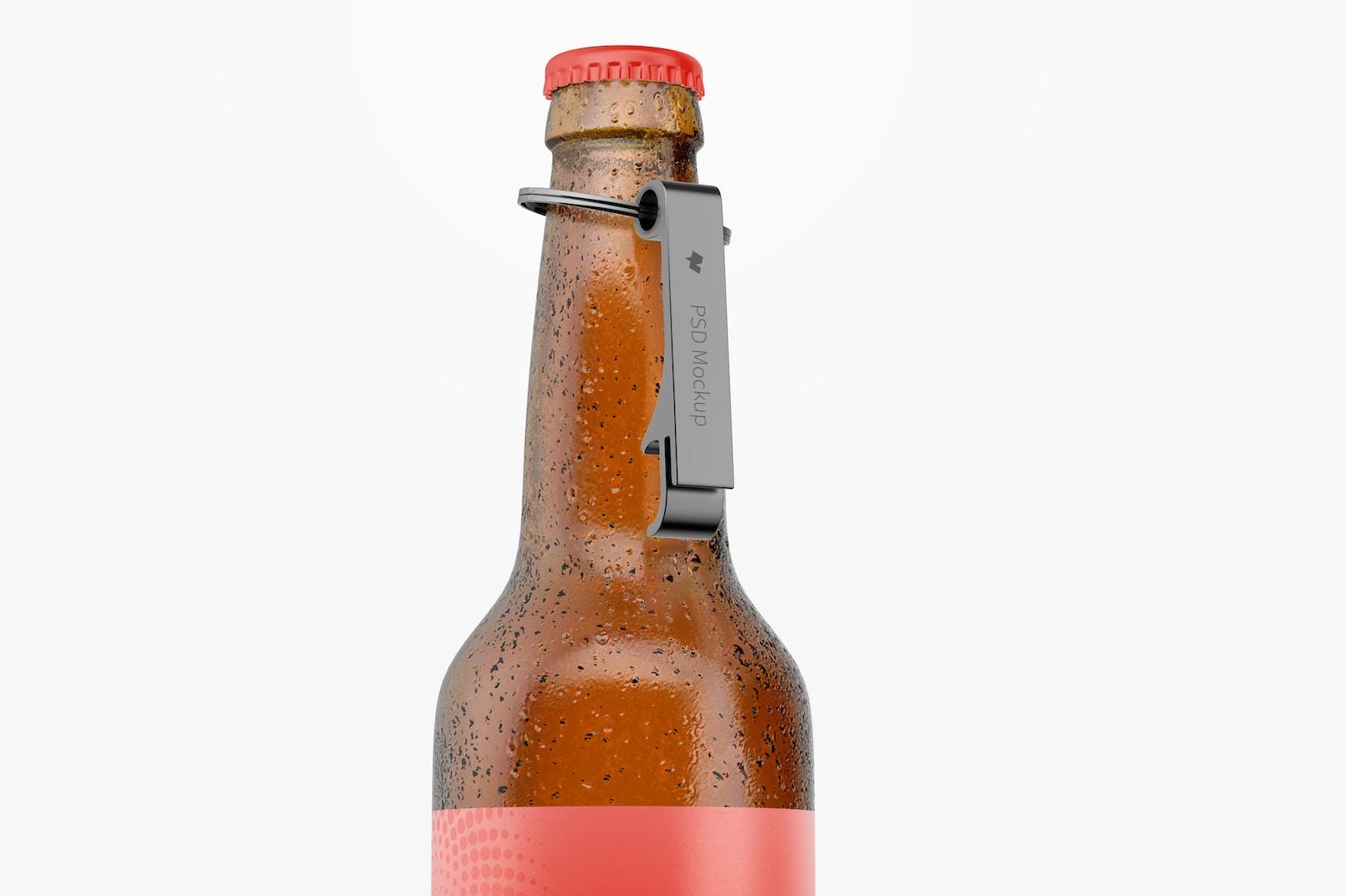 Aluminium Bottle Opener on Bottle Mockup
