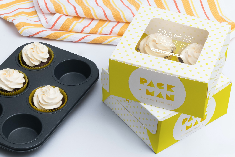 Four Cupcake Box Mockup 02