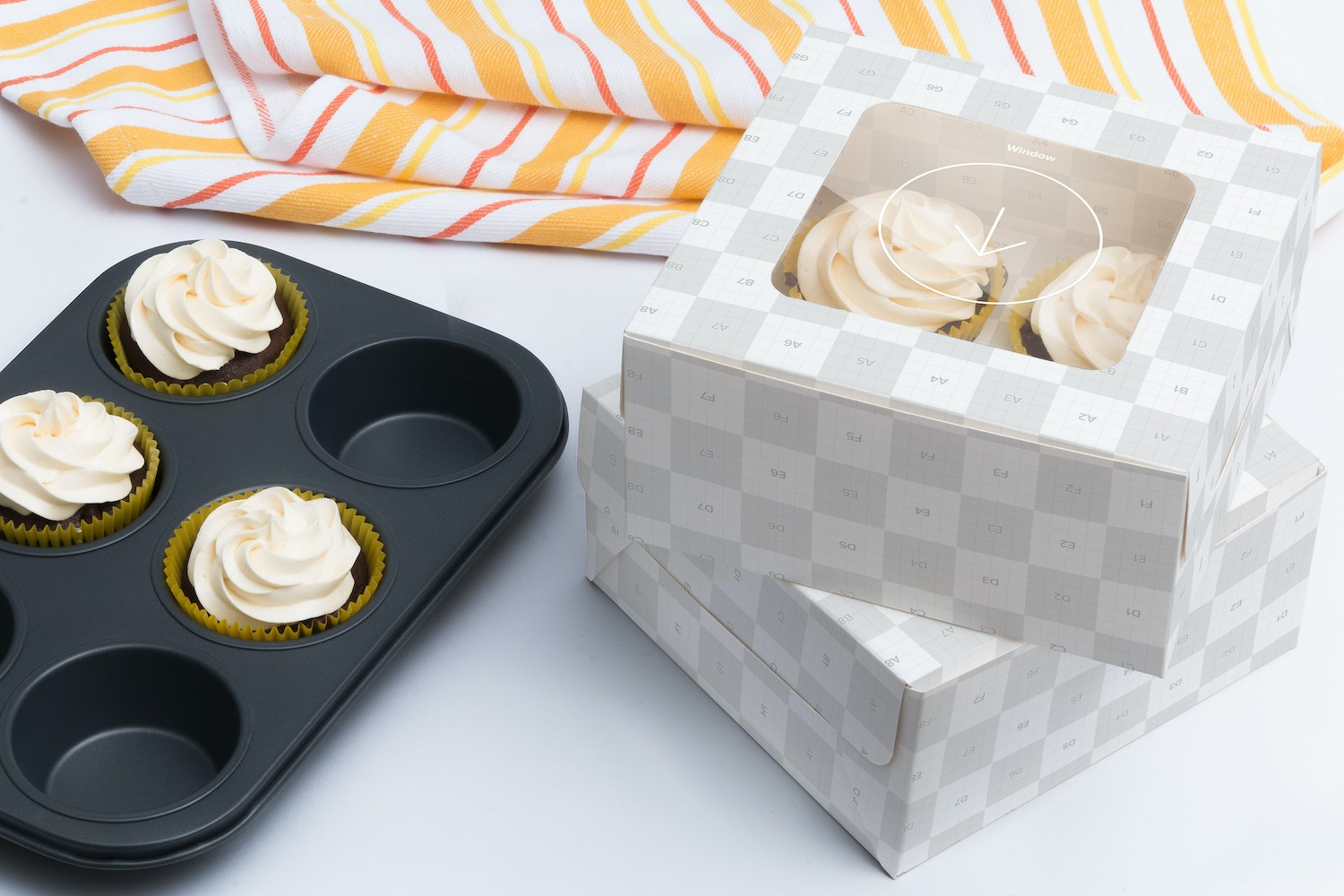 Four Cupcake Box Mockup 02 by Ktyellow  on Original Mockups