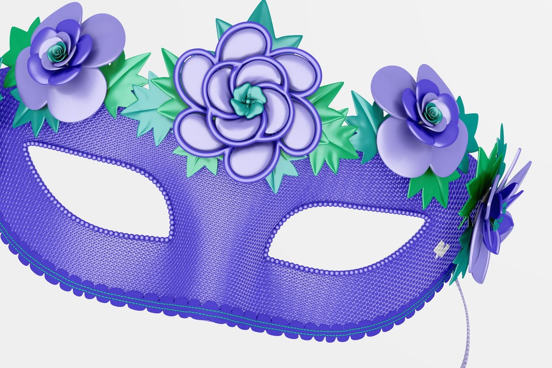 Floral Venetian Half-Face Mask Mockup, Floating