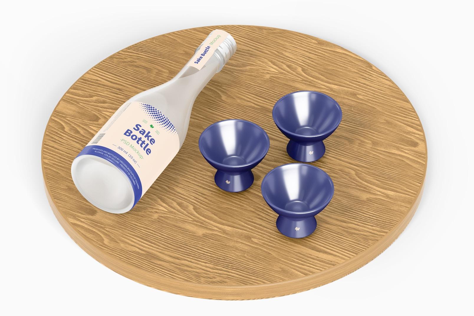 Sake Bottle Mockup, Perspective