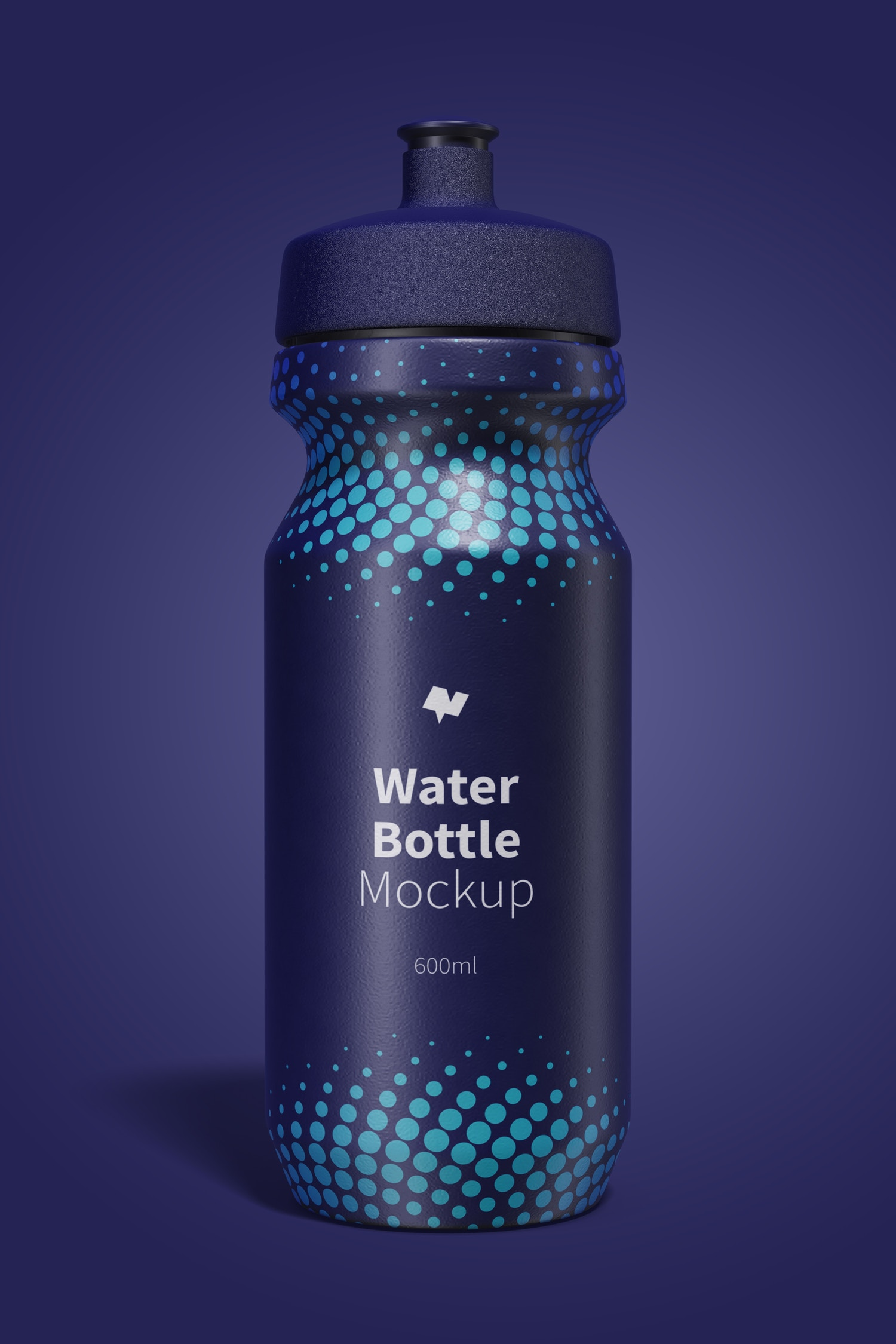 600ml Water Bottle Mockup, Front View