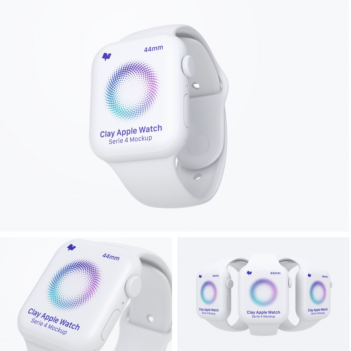 Clay Apple Watch Series 4 (44mm) Mockups by Original Mockups on Original Mockups