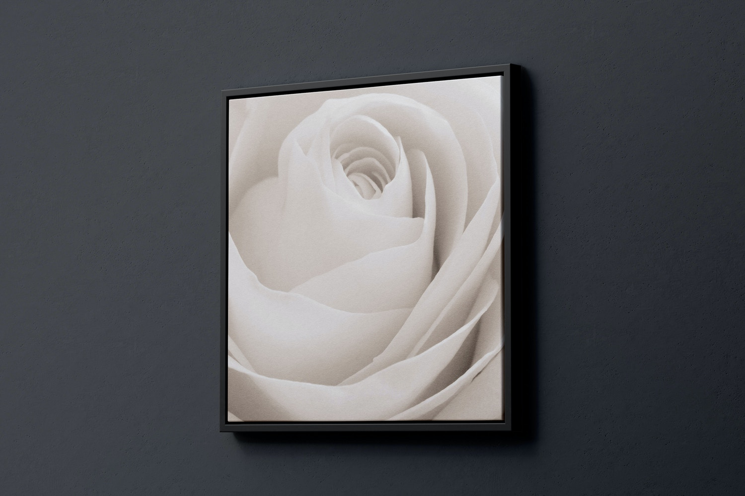 1:1 Square Canvas Mockup in Floater Frame, Right View