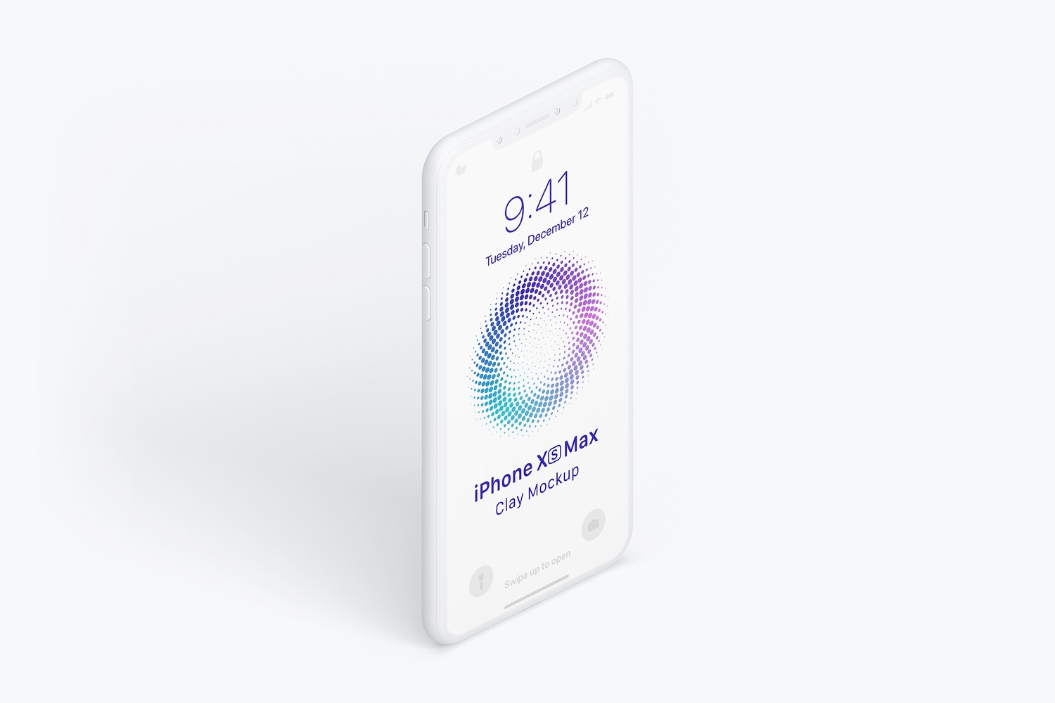 Isometric Clay iPhone XS Max Mockup, Right View 02
