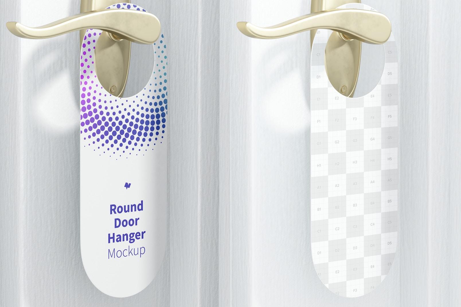 Round Door Hanger Mockup, Right View
