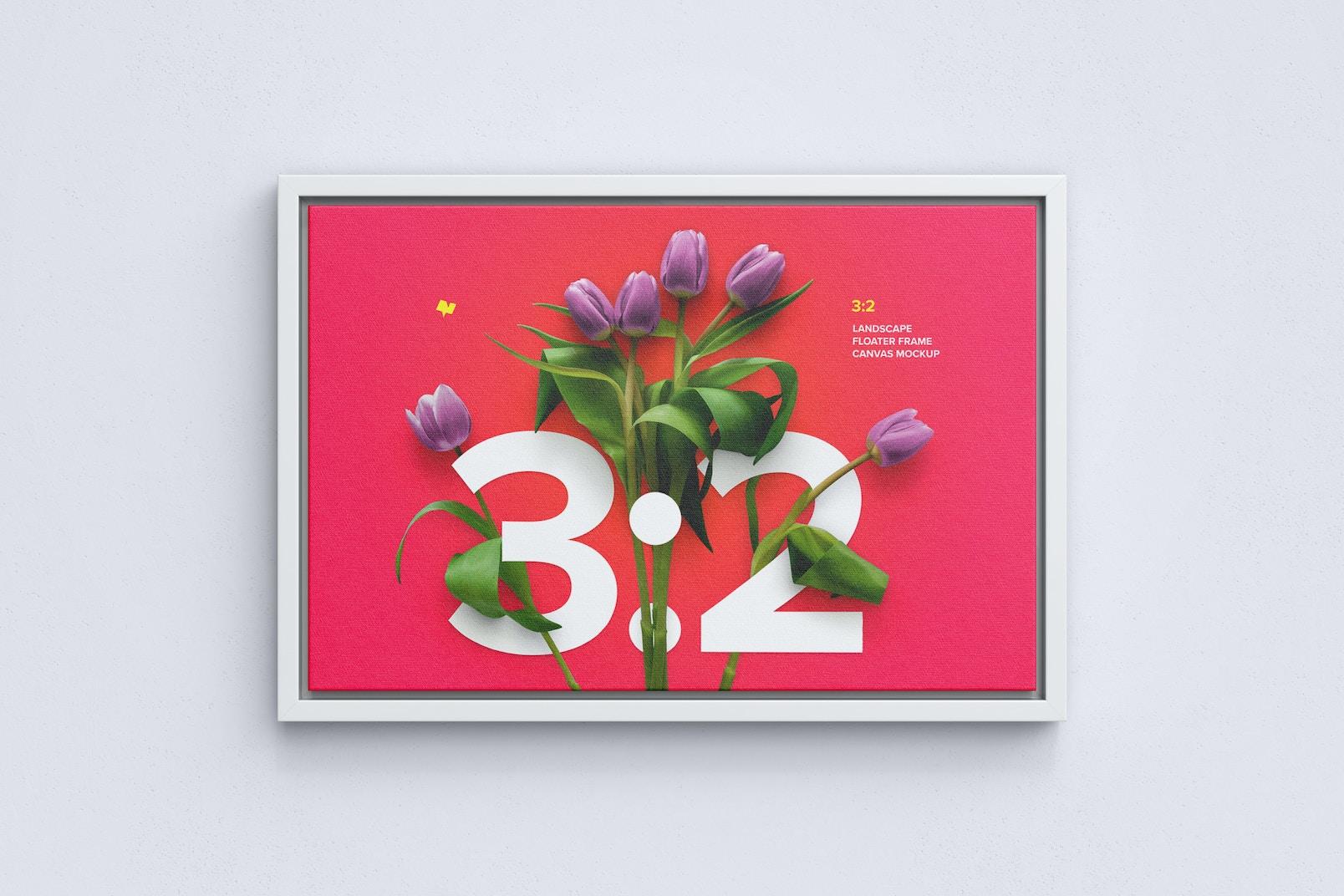 3:2 Landscape Canvas Mockup in Floater Frame, Front View