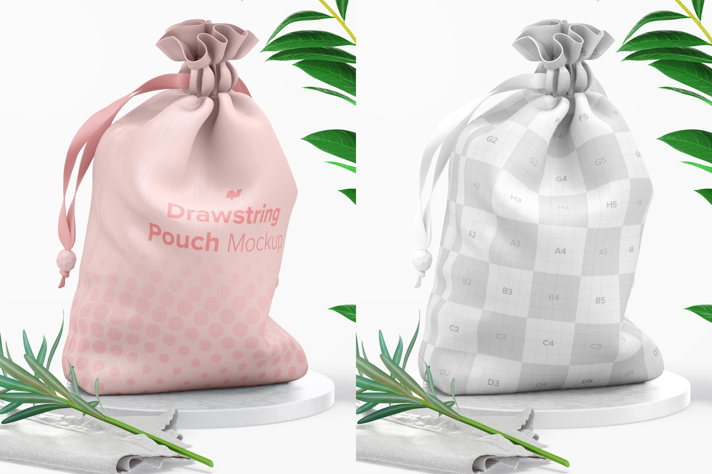 Drawstring Pouch Mockup, Left View