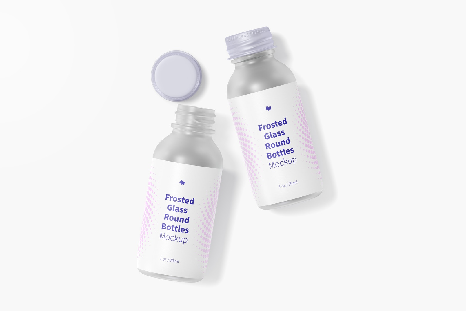 1 oz Frosted Glass Round Bottles Mockup, Top View