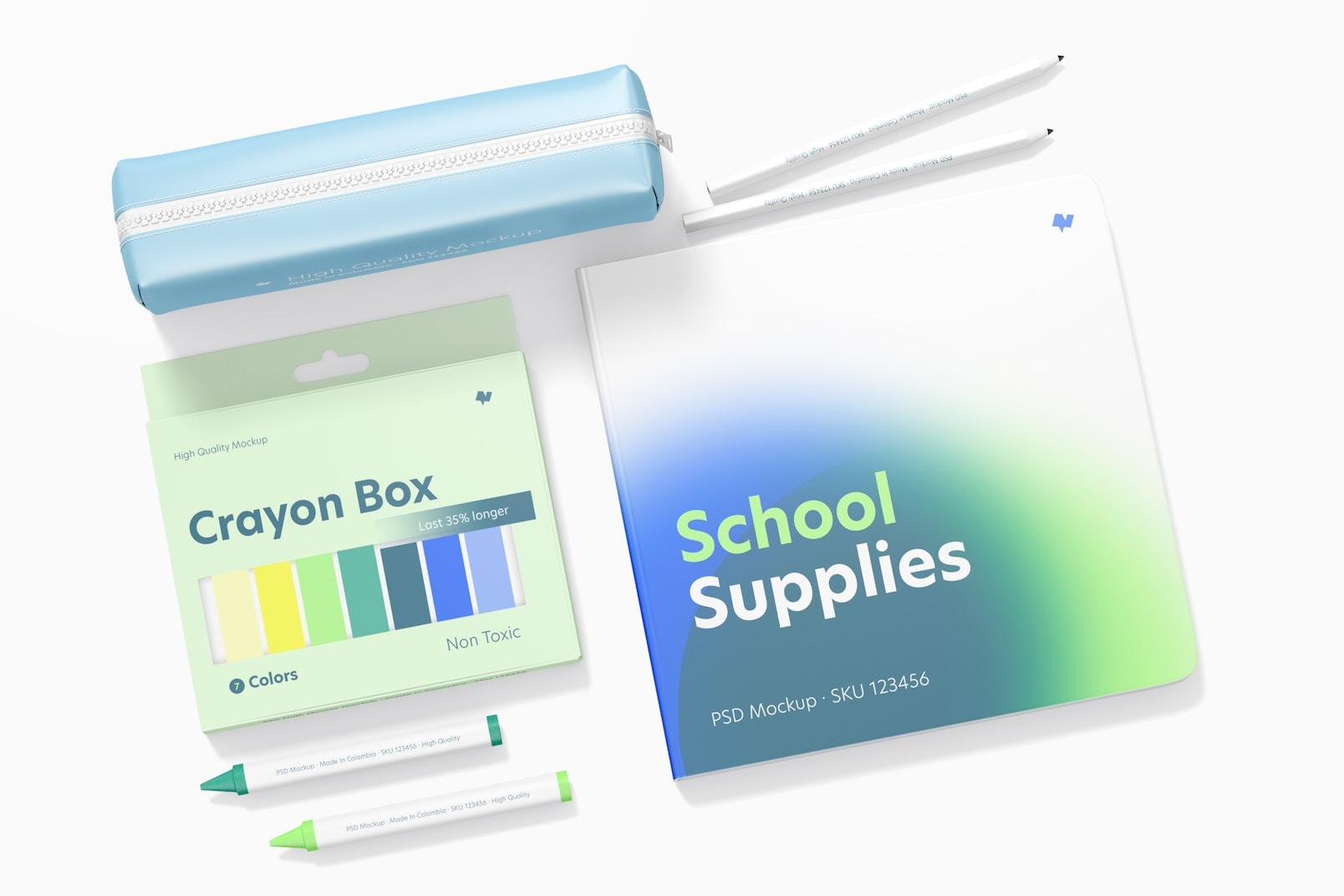 School Supplies Mockup, Top View 03