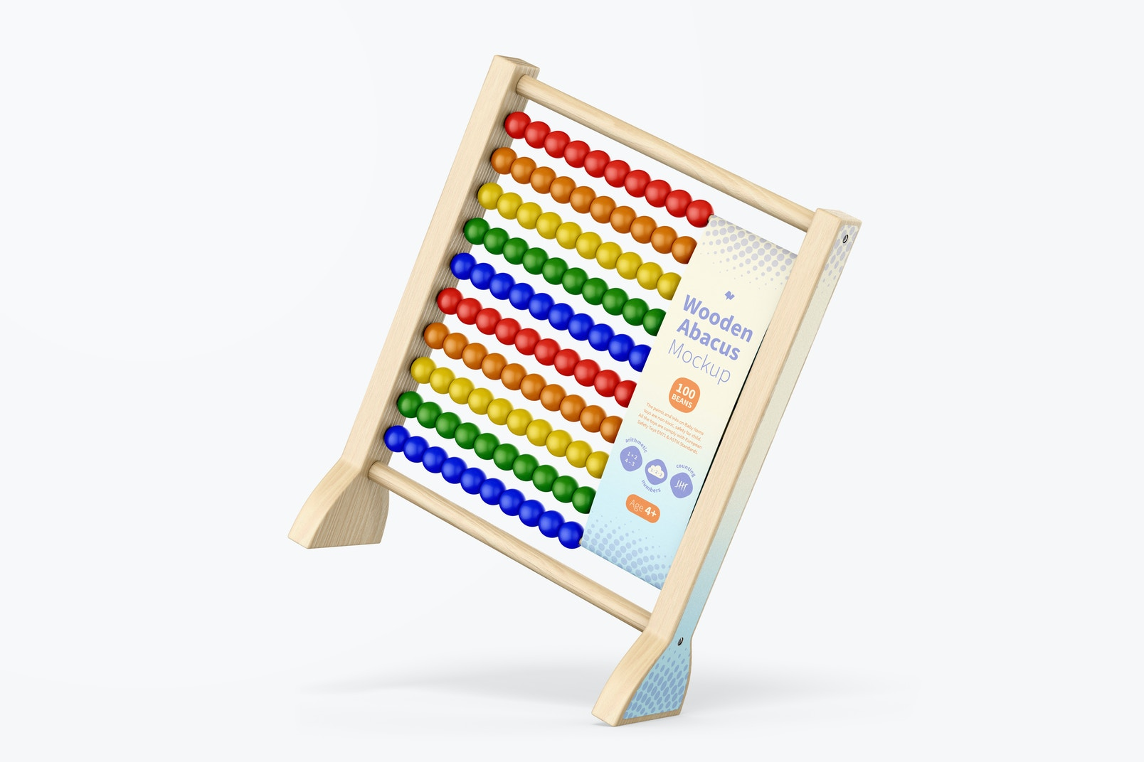 Wooden Abacus Mockup, Leaned