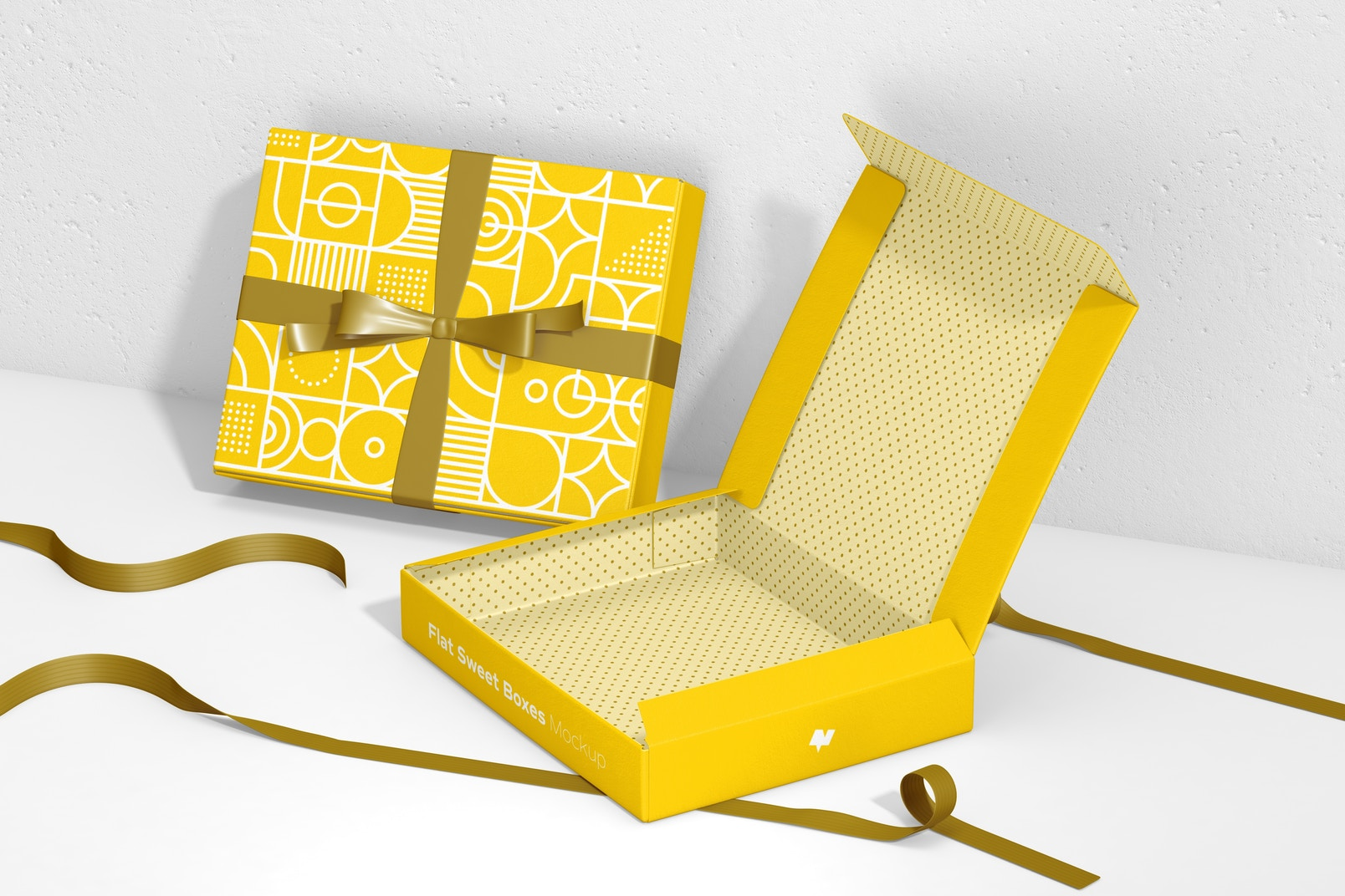 Flat Sweet Boxes with Ribbon Mockup, Right View