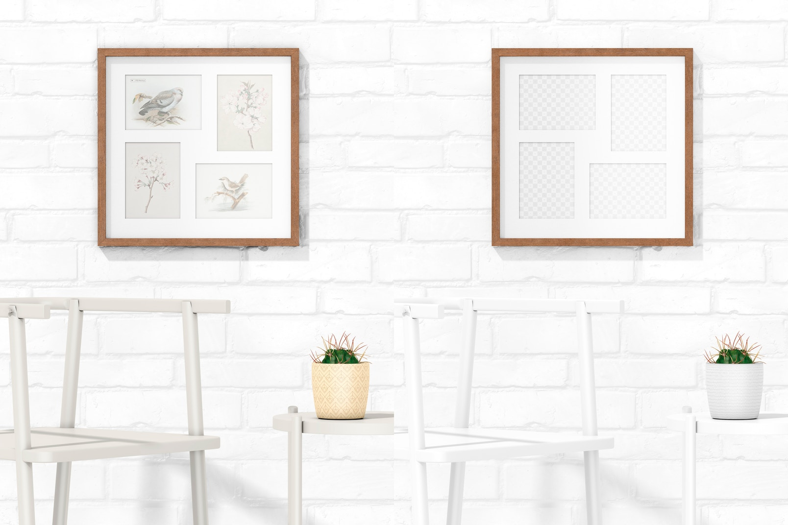 3:4 Multiple Photo Frame with Chair Mockup