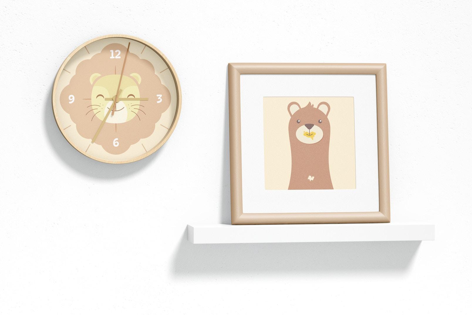 Wall Clock Mockup, Hanging