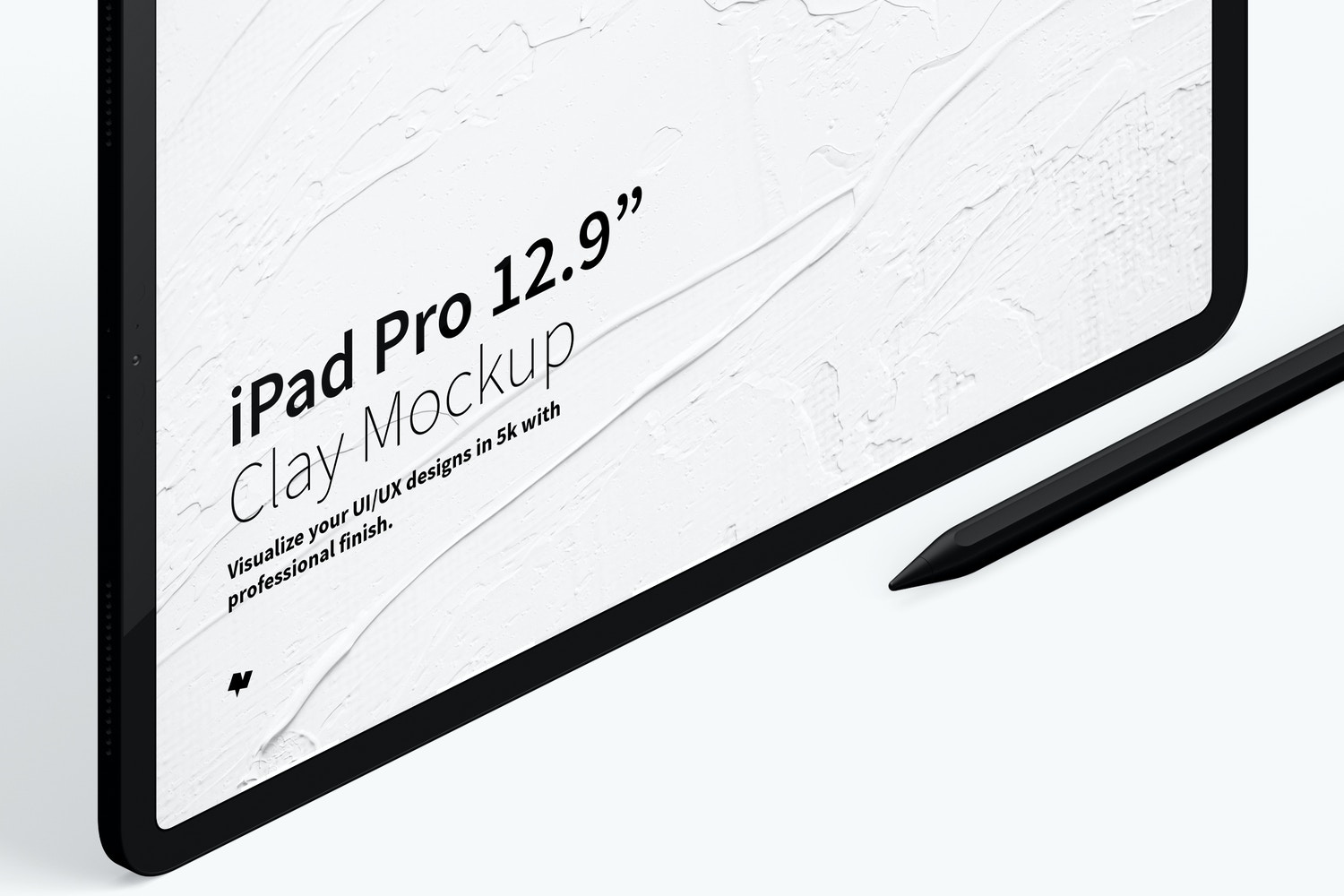 Clay iPad Pro 12.9 Mockup, Isometric Right View 03 (3) by Original Mockups on Original Mockups