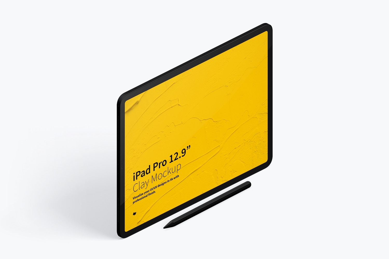 Clay iPad Pro 12.9 Mockup, Isometric Right View 03 (4) by Original Mockups on Original Mockups