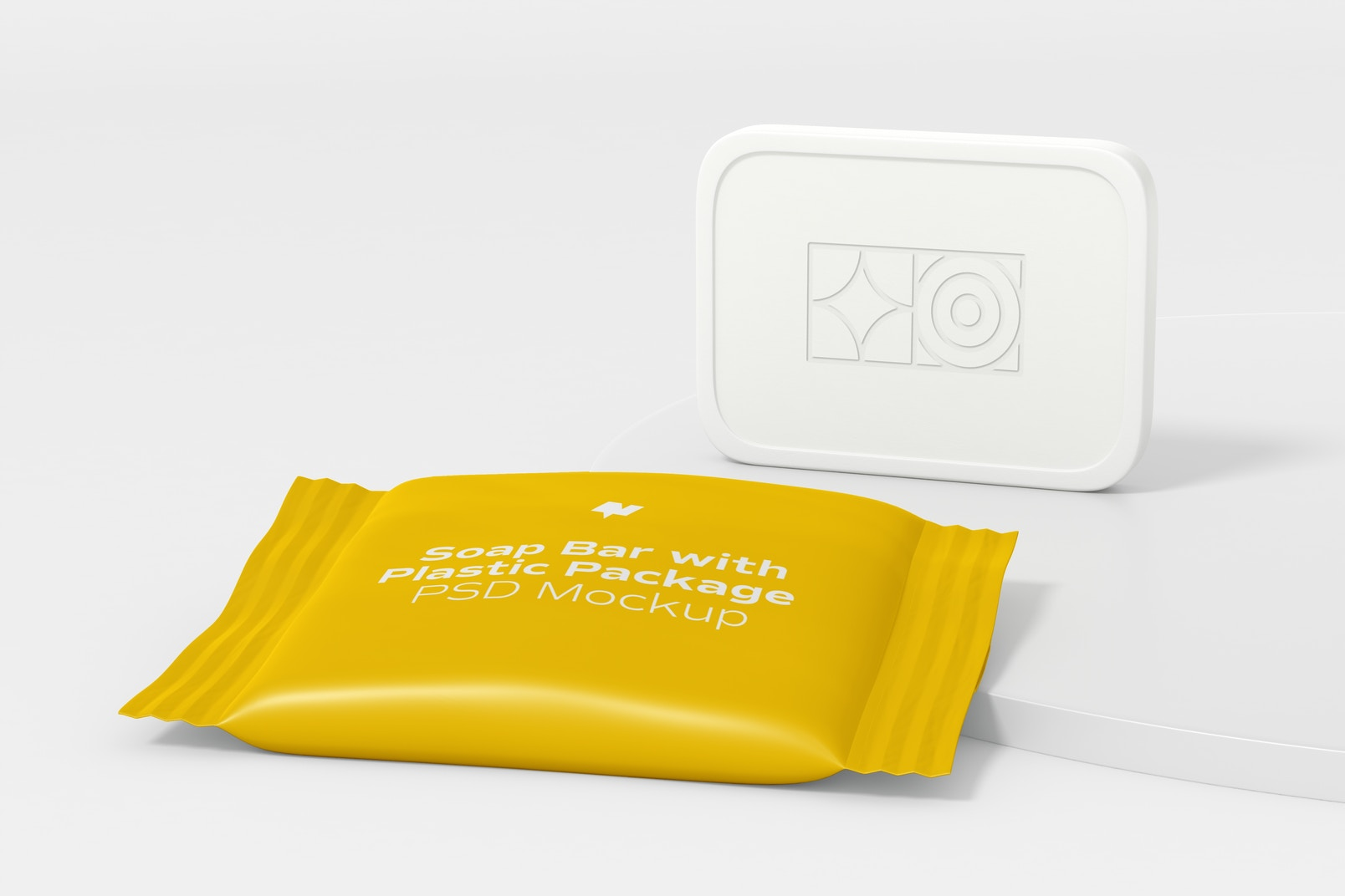Soap Bar with Plastic Package Mockup, Front View