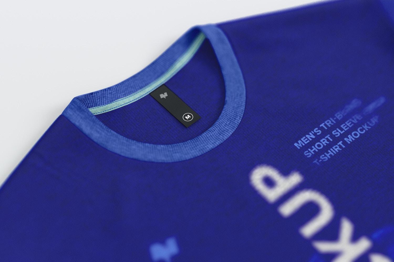 Maqueta de Camiseta Tri-Blend para Hombre con Etiqueta, Primer Plano