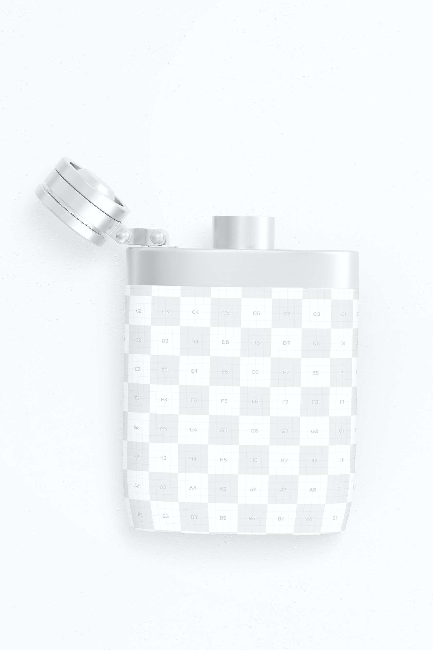 Liquor Flask With Plastic Wrap Mockup, Top View