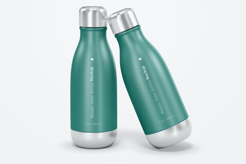 17 oz Metallic Water Bottles Mockup, Front View