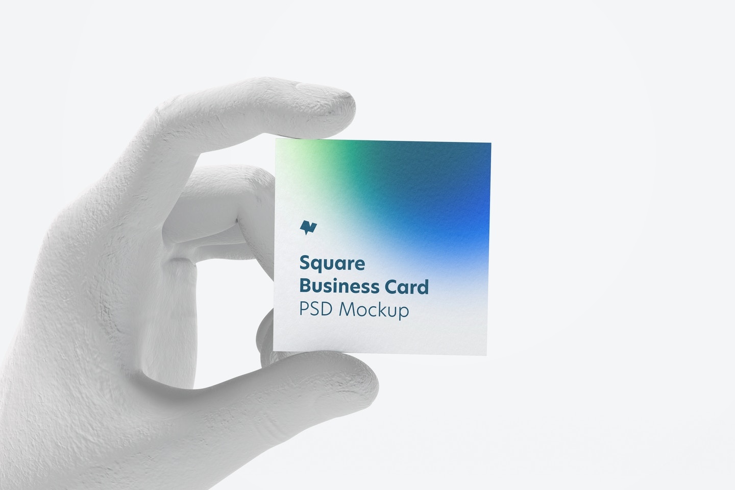 Square Business Card with Hand Mockup