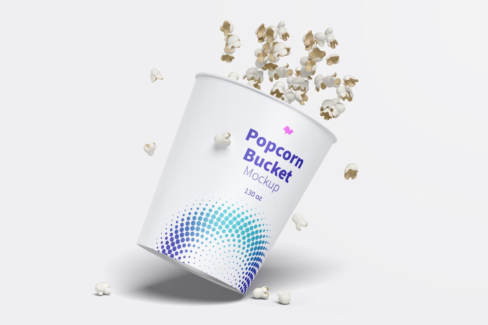 130 oz Popcorn Bucket Mockup, Falling