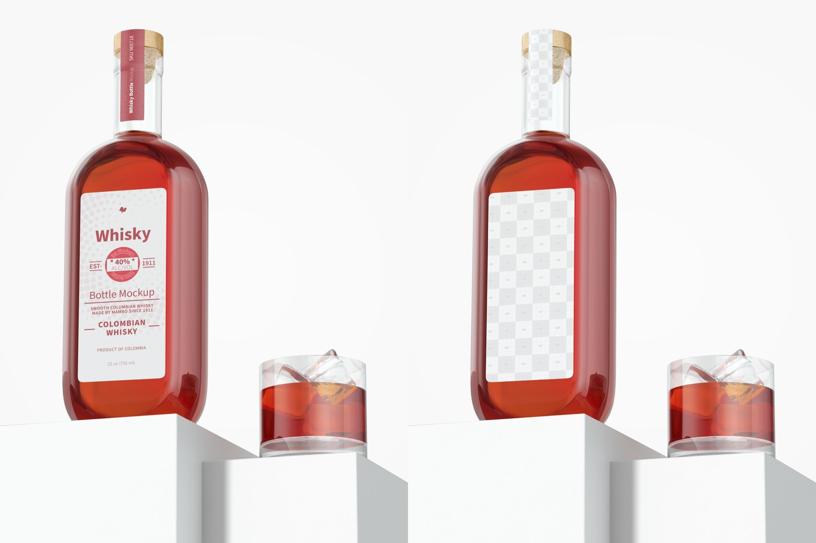 Whisky Bottle Mockup, Low Angle View