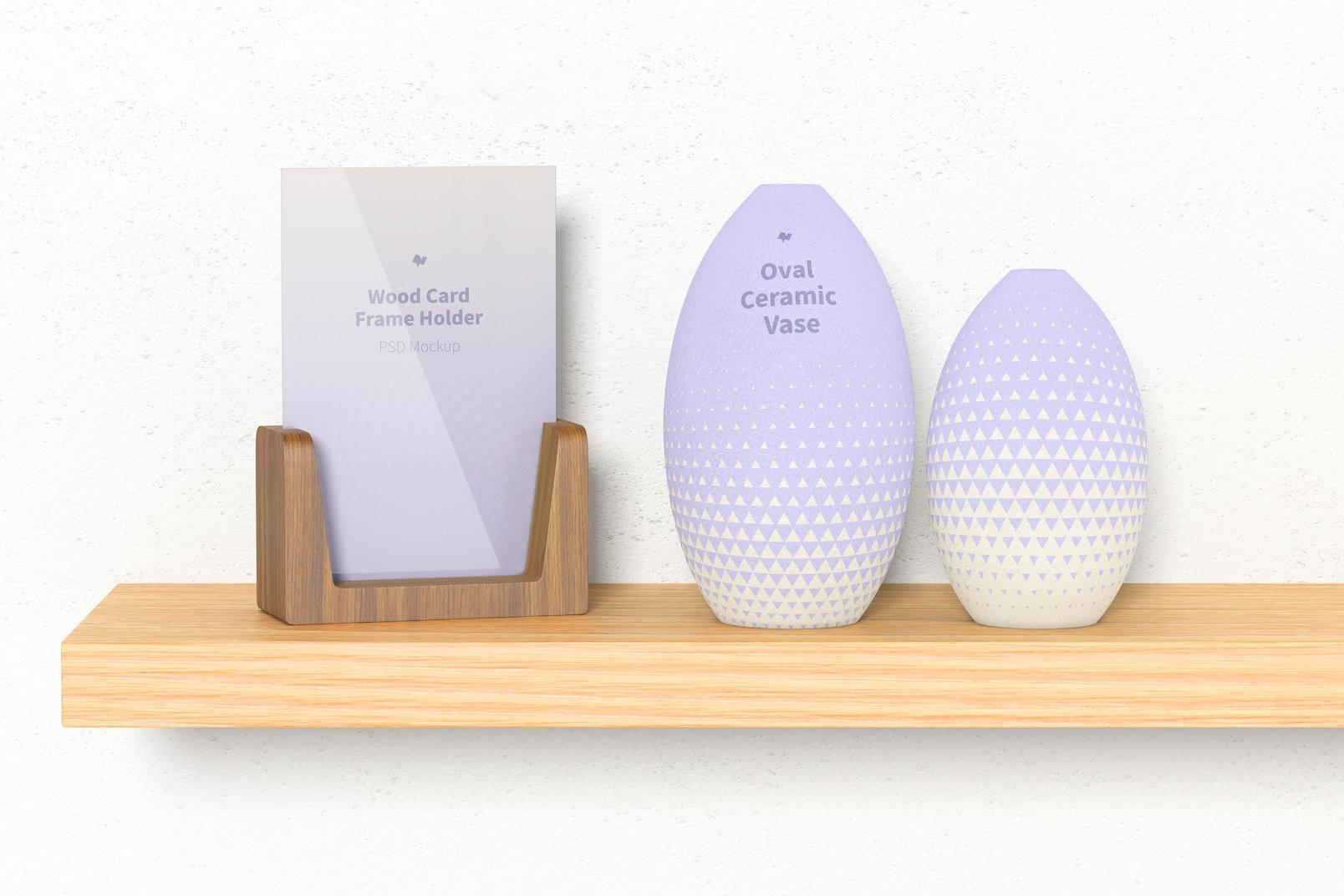 Oval Ceramic Vase Set Mockup, on Shelf