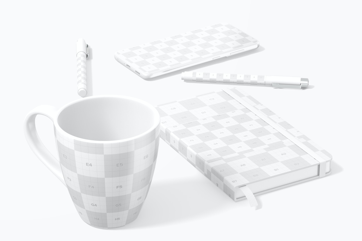 Notebook with Mug Scene Mockup, Front View