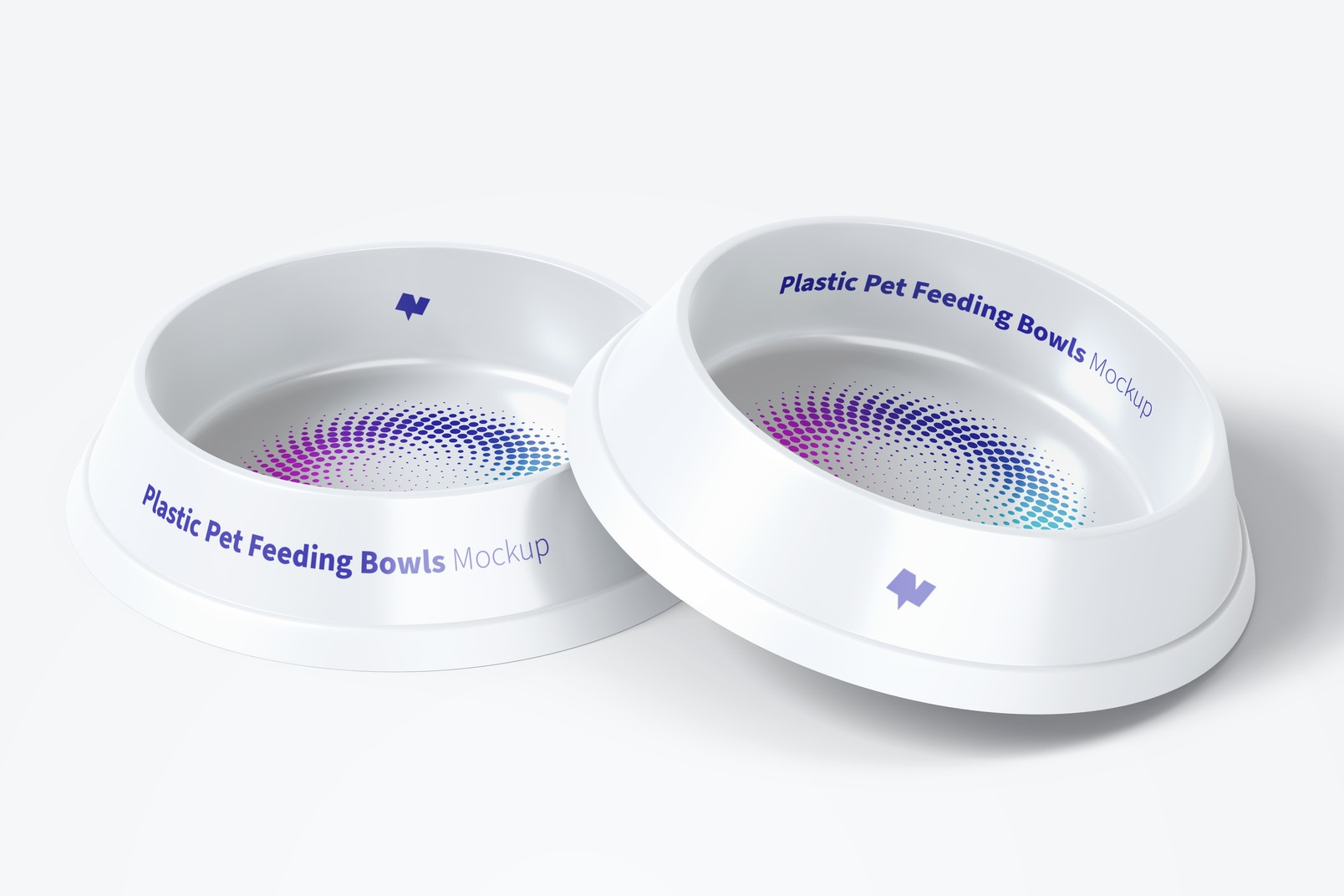 Plastic Pet Feeding Bowls Mockup, Front View