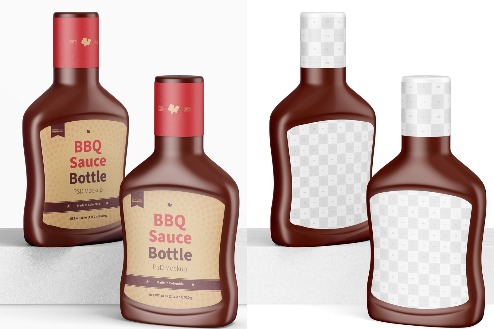 Barbecue Sauce Bottles Mockup, Front View