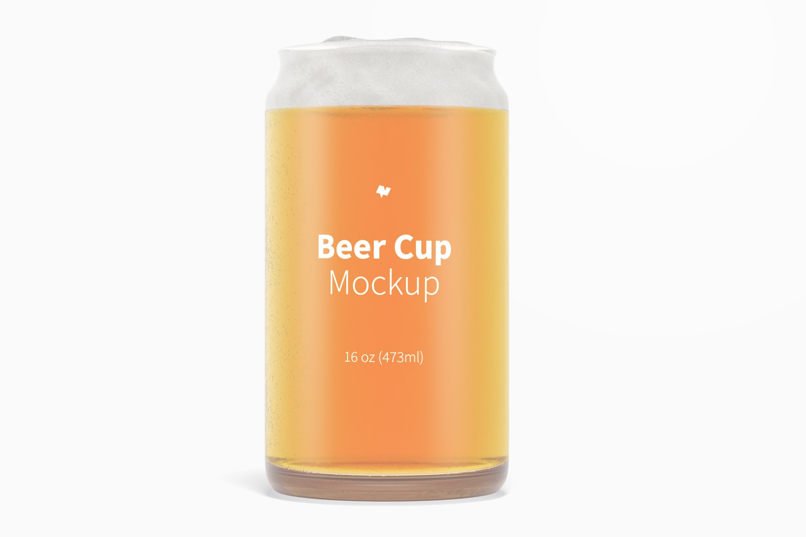 16 oz Glass Beer Cup Mockup, Front View